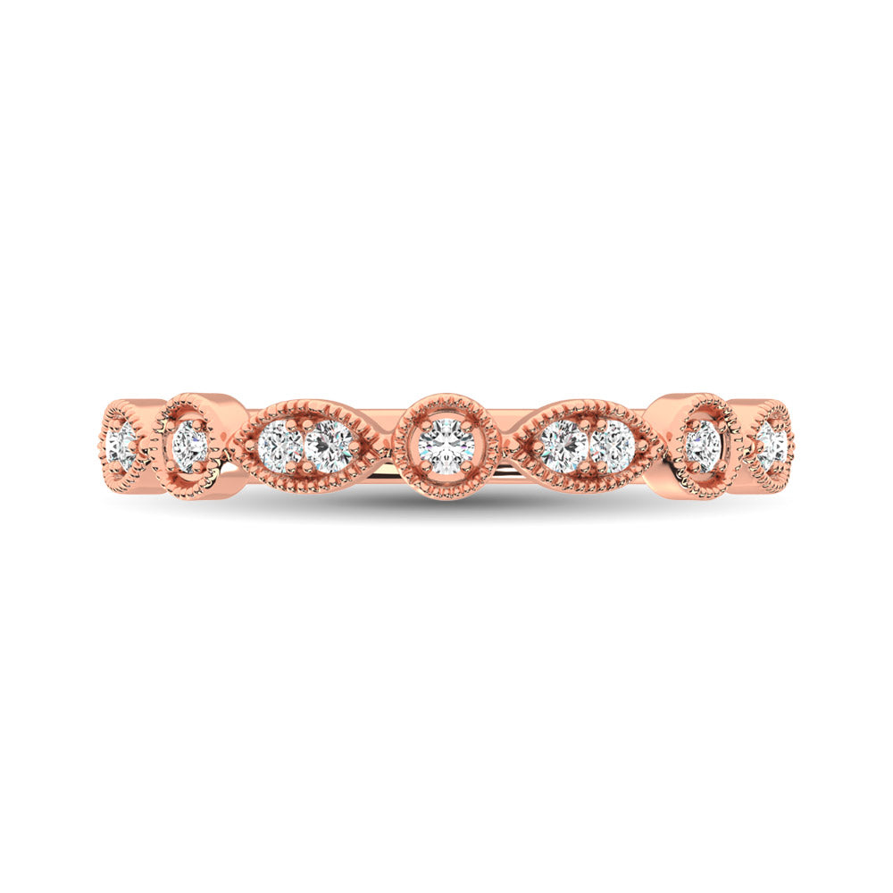 14K Rose Gold 1/8 Ct.Tw.Diamond Stackable Band