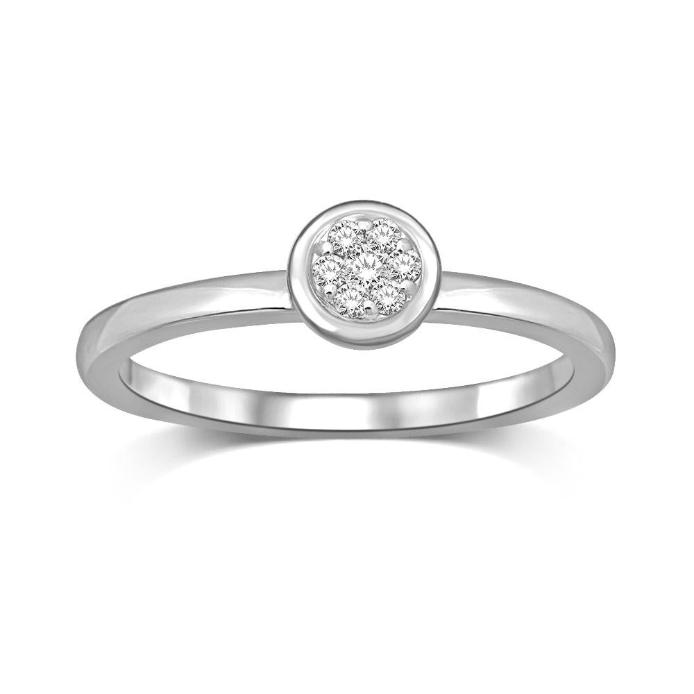 14K White Gold 1/10 Ctw Diamond Round Flower Ring
