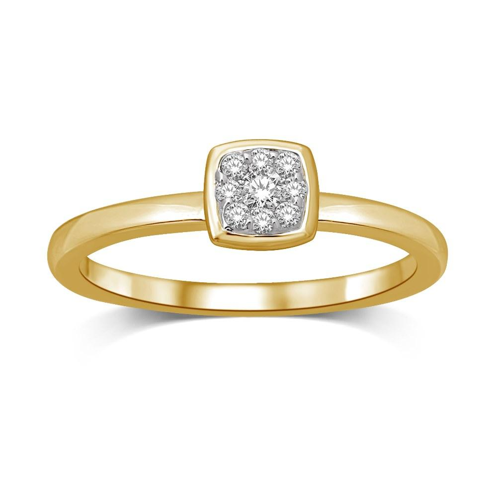 14K Yellow Gold 1/10 Ctw Diamond Square Flower Ring