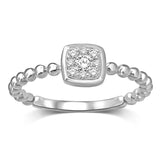 14K White Gold 1/10 Ctw Diamond Square Flower Ring