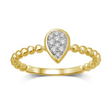 14K Yellow Gold 1/10 Ctw Diamond Pear Shape Flower Ring
