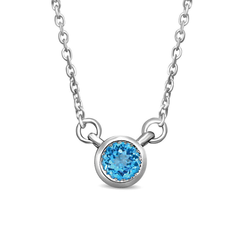 10K White Gold 1/10 Ctw Round Aquamarine Necklace