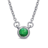 10K White Gold 1/10 Ctw Round Tsavorite Necklace