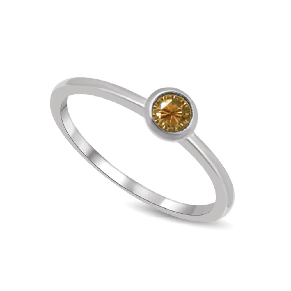 10K White Gold 1/10 Ctw Yellow Sapphire Stack Ring