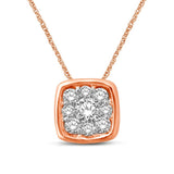 14K Rose Gold 1/6 Ctw Diamond Square Flower Pendant
