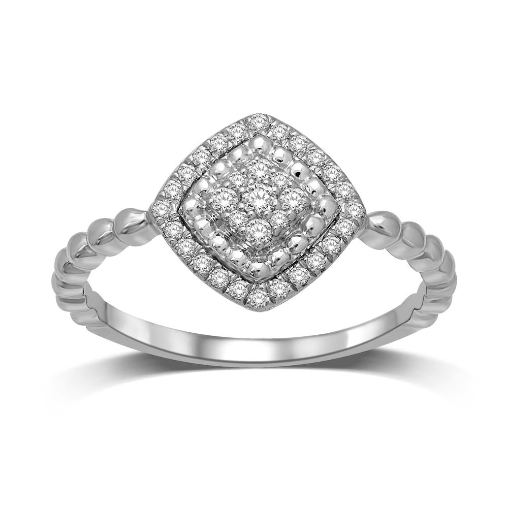 10K White Gold 1/5 Ctw Diamond Square Flower Ring