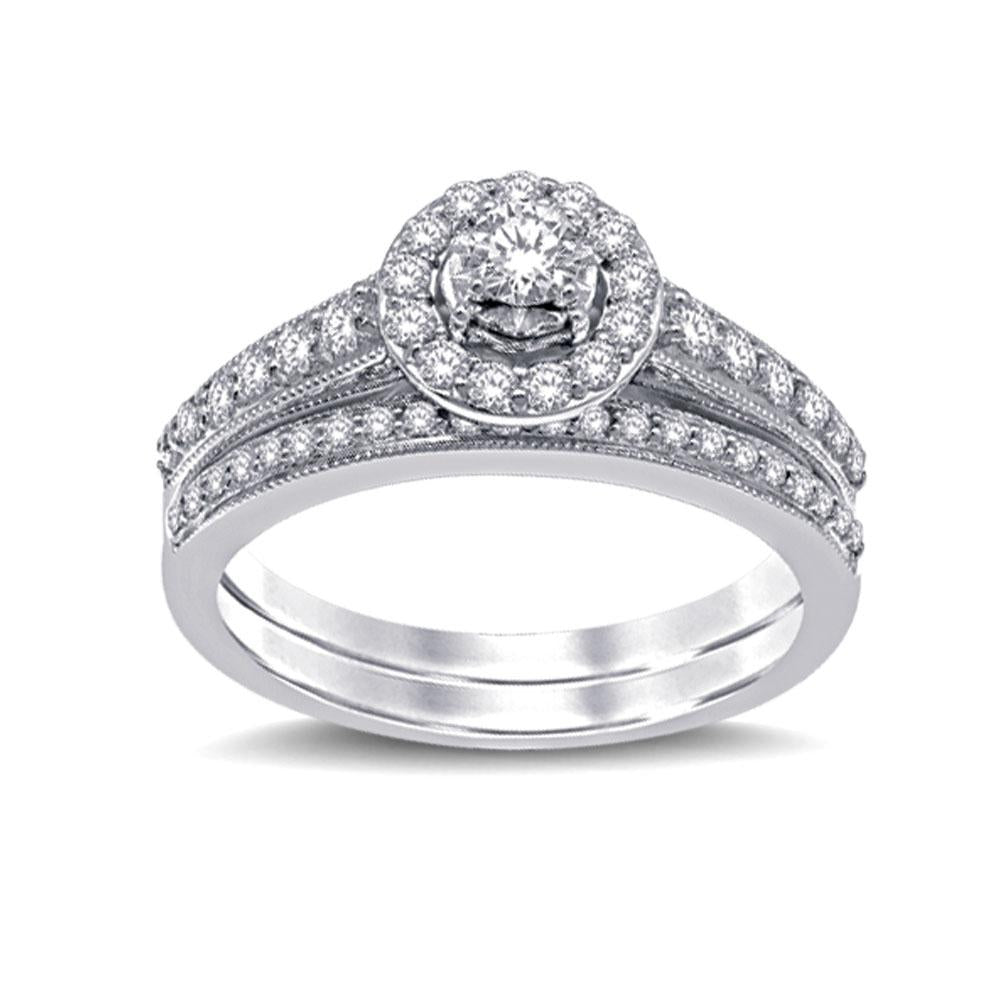 10K White Gold 3/4 Ctw Diamond Bridal Ring