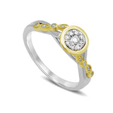 14K Two Tone Gold 1/5 Ct.Tw. Diamond Engagement Ring