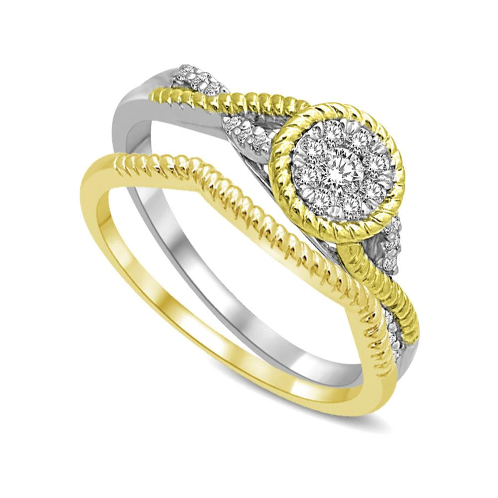 14K Two Tone Gold 1/4 Ct.Tw. Diamond Engagement Ring