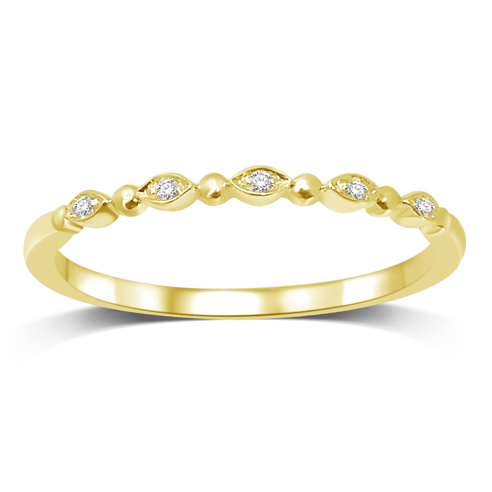14K Yellow Gold Diamond Accent Wedding Band