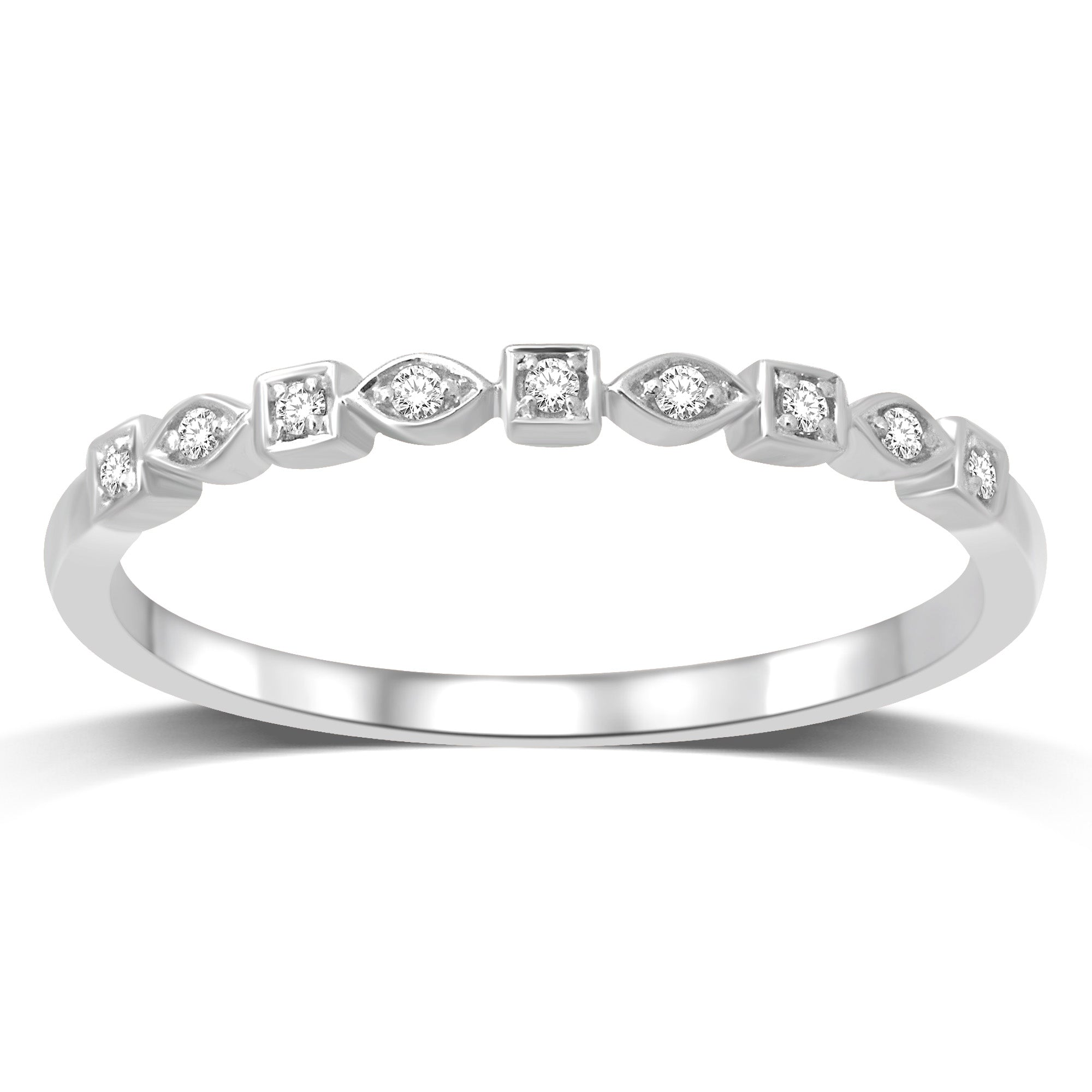 14K White Gold 1/20 Ctw Diamond Wedding Band