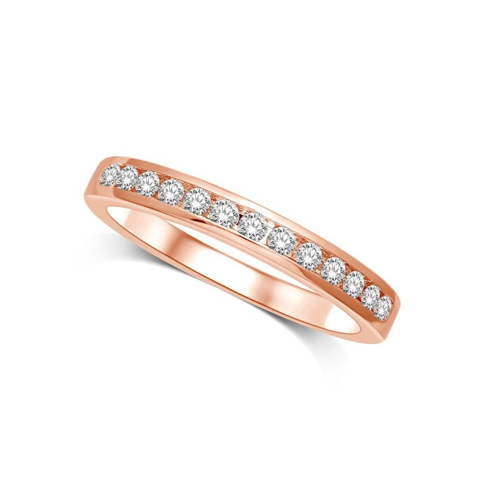 14K Rose Gold 1/5 Ctw Diamond Machine Band