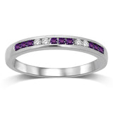 14K White Gold 1/5 Ctw Amethyst & Diamond Machine Band
