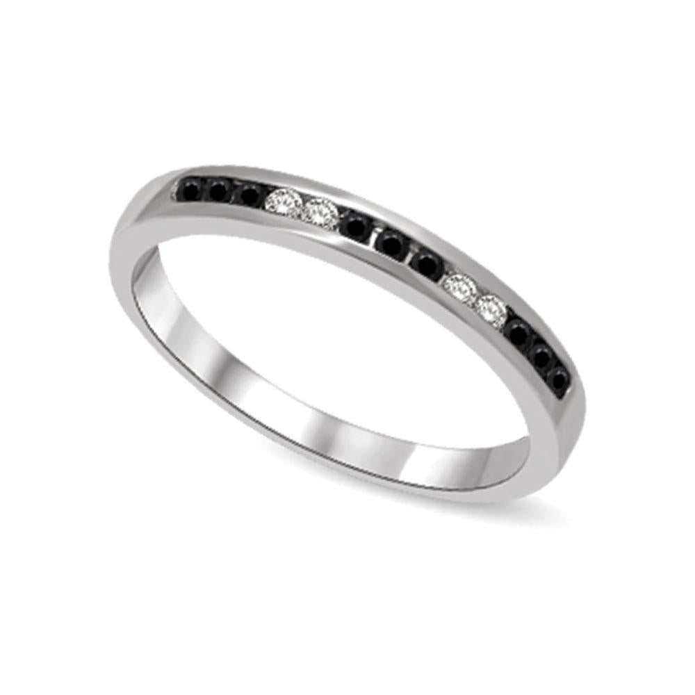 14K White Gold 1/6 Ctw Black & White Diamond Machine Band
