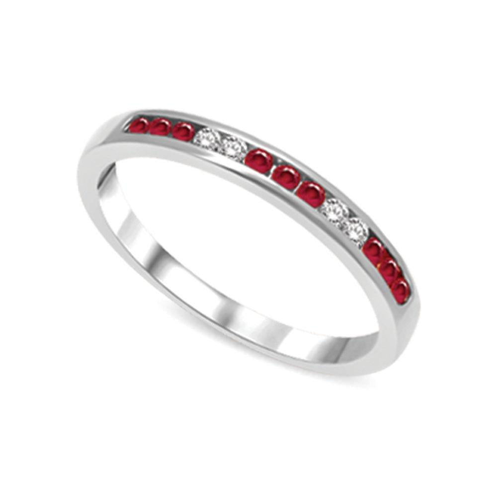 14K White Gold 1/5 Ctw Ruby & Diamond Machine Band