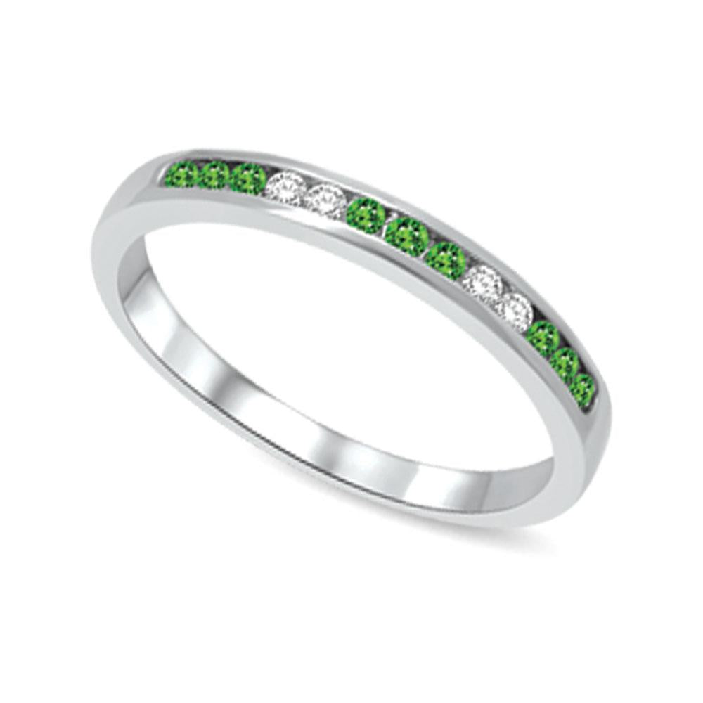 14K White Gold 1/6 Ctw Tsavorite & Diamond Machine Band