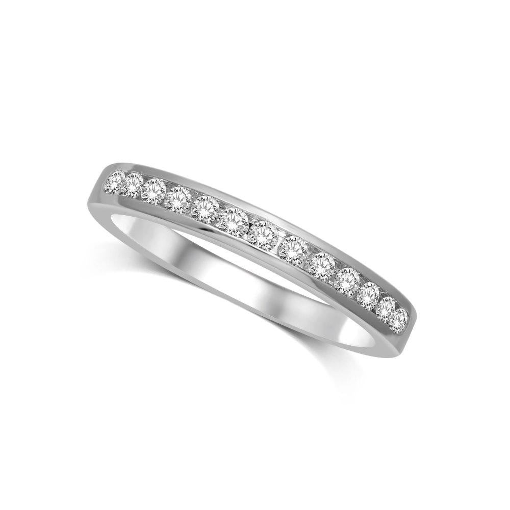 14K White Gold 1/5 Ctw Diamond Channel Set Machine Band