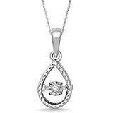 Sterling Silver Moving Diamond Accent Pear Shape Pendant