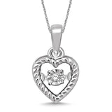 Sterling Silver Moving Diamond Accent Heart Pendant