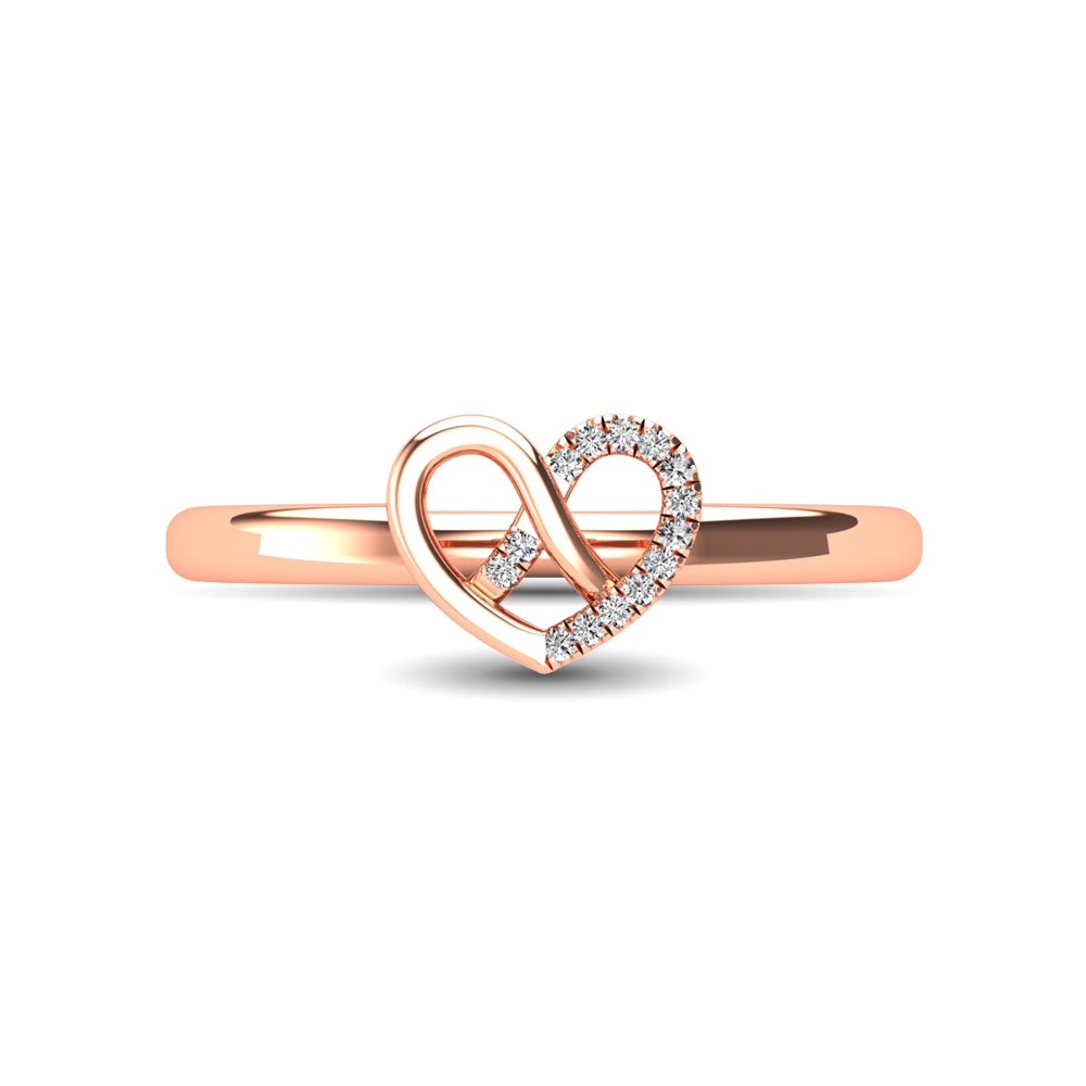 14K Rose Gold Diamond Accent Heart Ring
