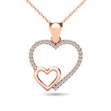 10K Rose Gold 1/20 Ctw Diamond Double Heart Pendant