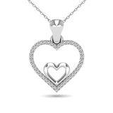 10K White Gold 1/10 Ctw Diamond Double Heart Pendant