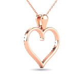 10K Rose Gold 1/6 Ctw Diamond Heart Pendant