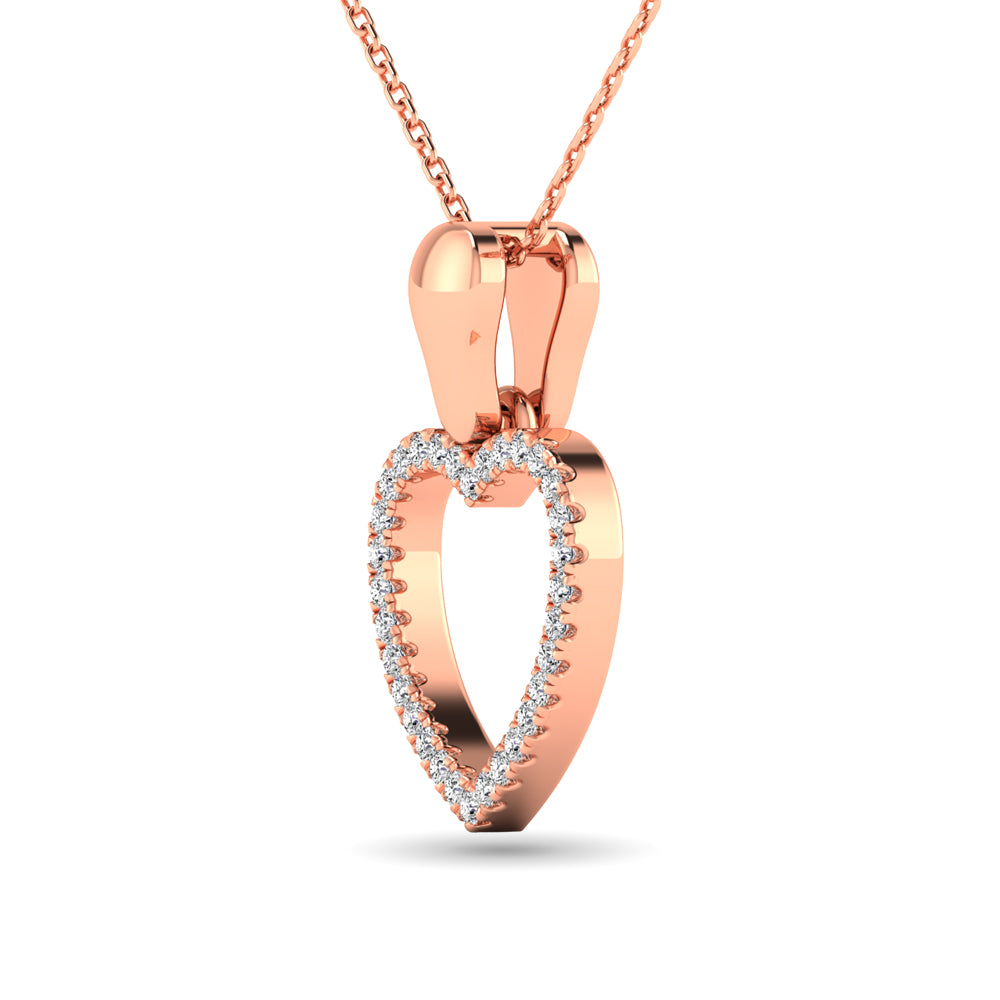 10K Rose Gold 1/10 Ctw Diamond Heart Pendant