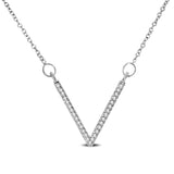 10K White Gold 1/10 Ctw Diamond V Necklace