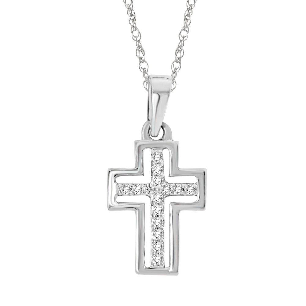 10K White Gold 1/20 Ctw Diamond Cross Pendant