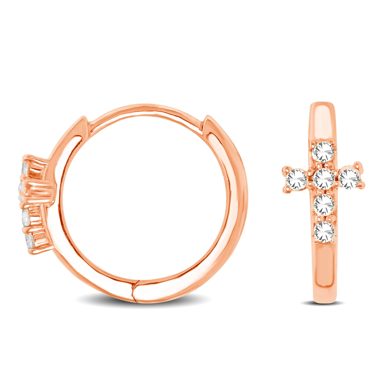 10K Rose Gold 1/8 Ctw Diamond Cross Hoop Earrings