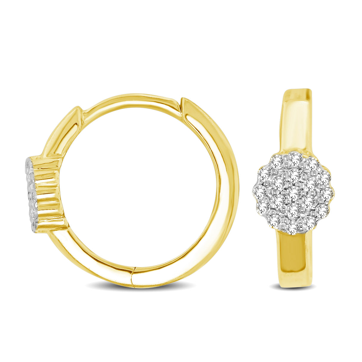 10K Yellow Gold 1/10 Ctw Diamond Hoop Earrings