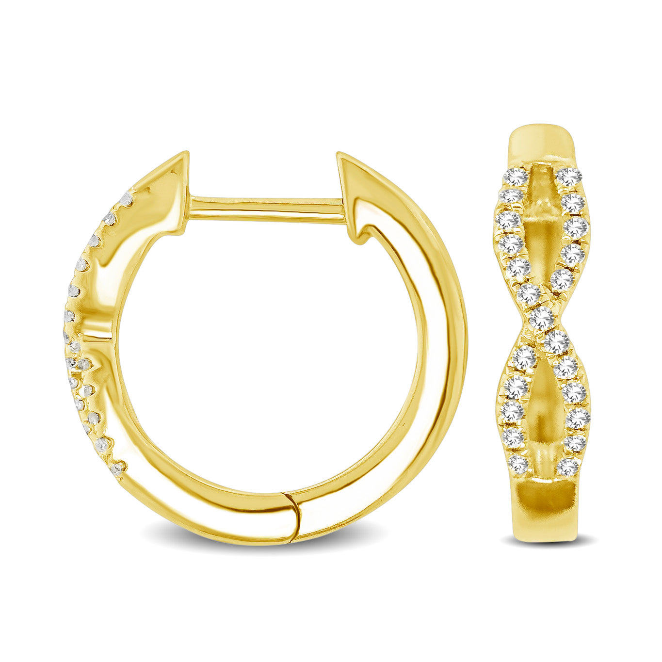 10K Yellow Gold 1/6 Ctw Diamond Hoop Earrings