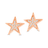 10K Rose Gold 1/20 Ctw Diamond Twinkle Star Earrings
