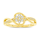10K Yellow Gold 1/5 Ctw Diamond Flower Ring