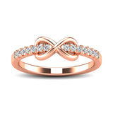 10K Rose Gold 1/4 Ctw Diamond Infinity Ring