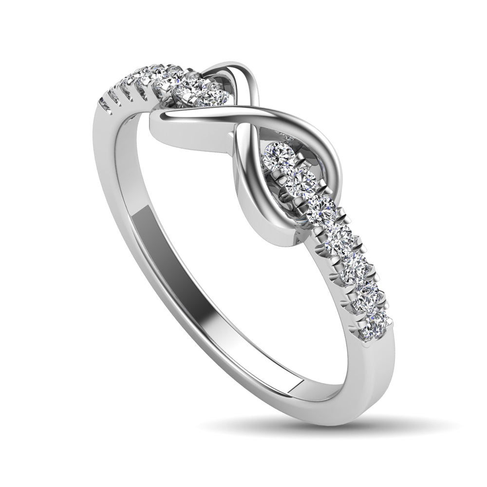 10K White Gold 1/4 Ctw Diamond Infinity Ring