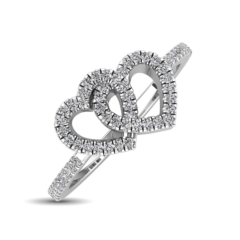 10K White Gold 1/5 Ctw Diamond Double Heart Ring