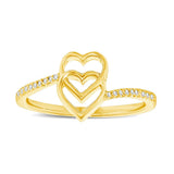 10K Yellow Gold 1/10 Ctw Diamond Double Heart Ring
