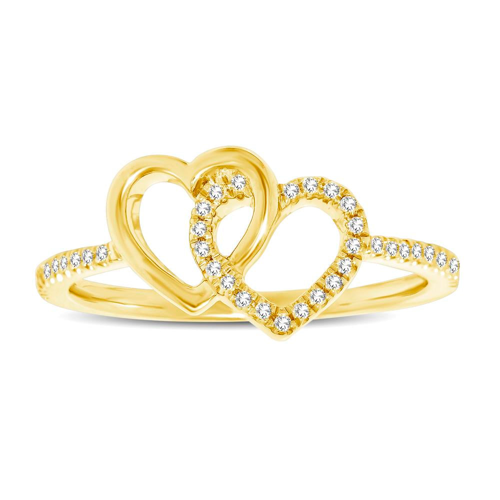 10K Yellow Gold 1/6 Ctw Diamond Double Heart Ring