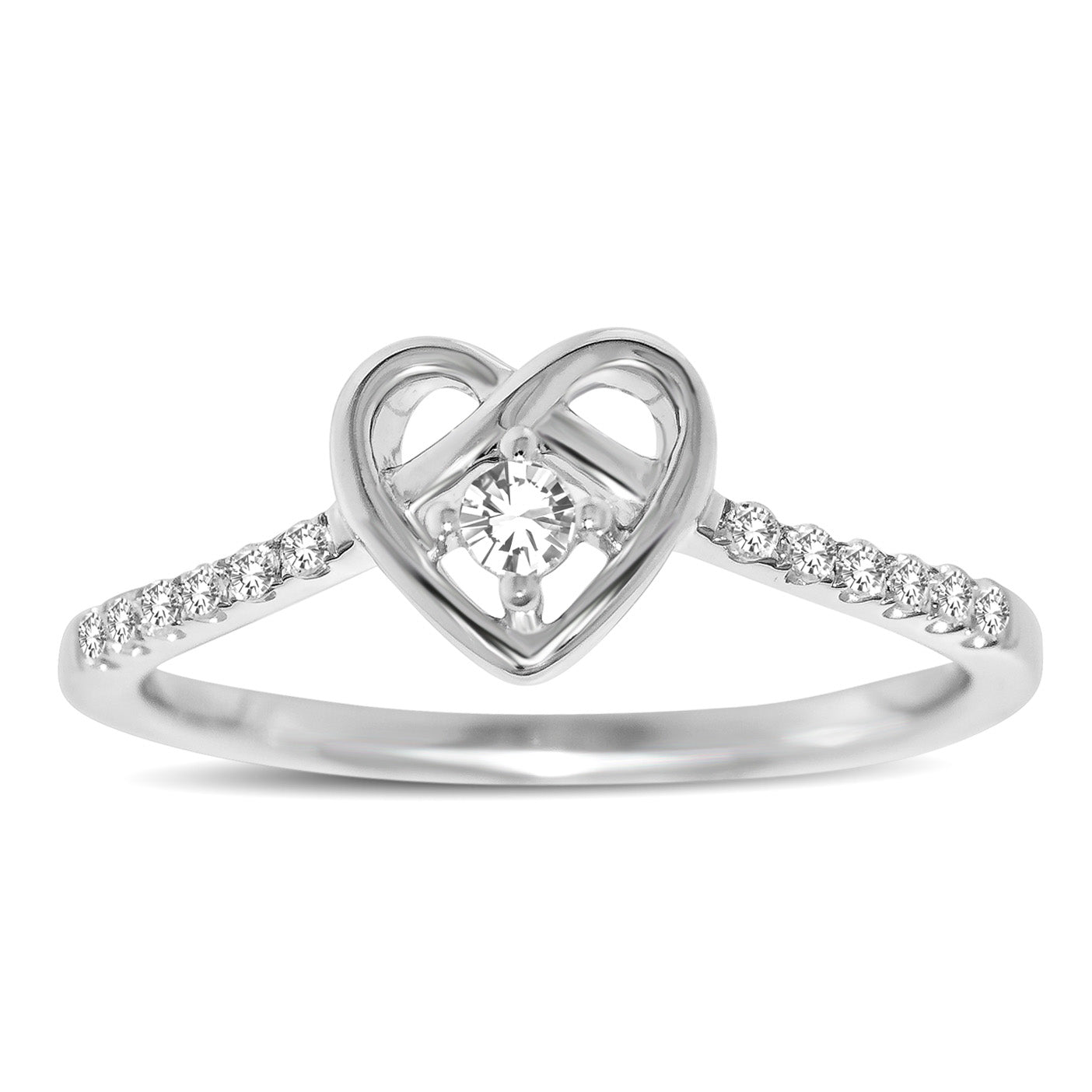 10K White Gold 1/5 Ctw Diamond Heart Ring