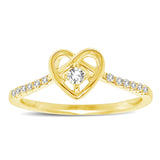 10K Yellow Gold 1/5 Ctw Diamond Heart Ring