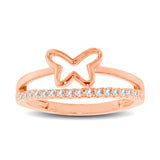 10K Rose Gold 1/5 Ctw Diamond Butterfly Ring