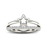 10K White Gold 1/5 Ctw Diamond Twikle Star Ring
