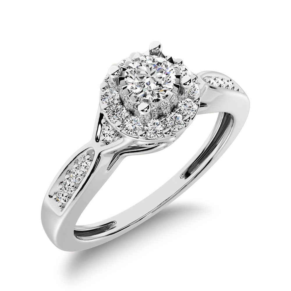 10K White Gold 1/5 Ct.Tw. Diamond Halo Engagement Ring