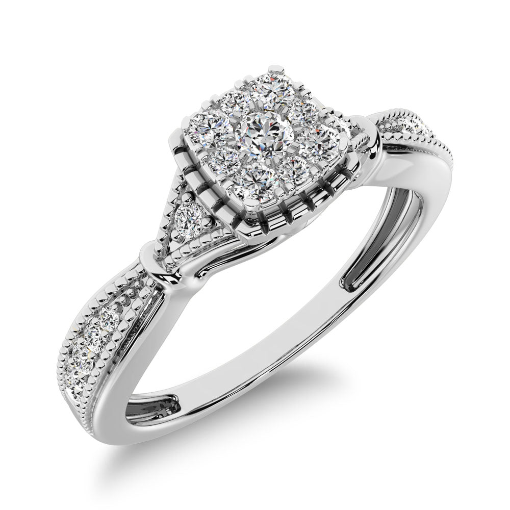 10K White Gold 1/5 Ct.Tw.  Diamond  Square Cluster Engagement Ring