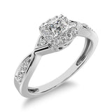 10K White Gold Princess Cut Diamond 1/5 Ct.Tw. Engagement Ring