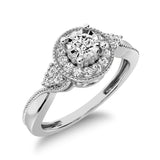 10K White Gold Diamond 1/5 Ct.Tw. Milgrain detail Halo Engagement Ring