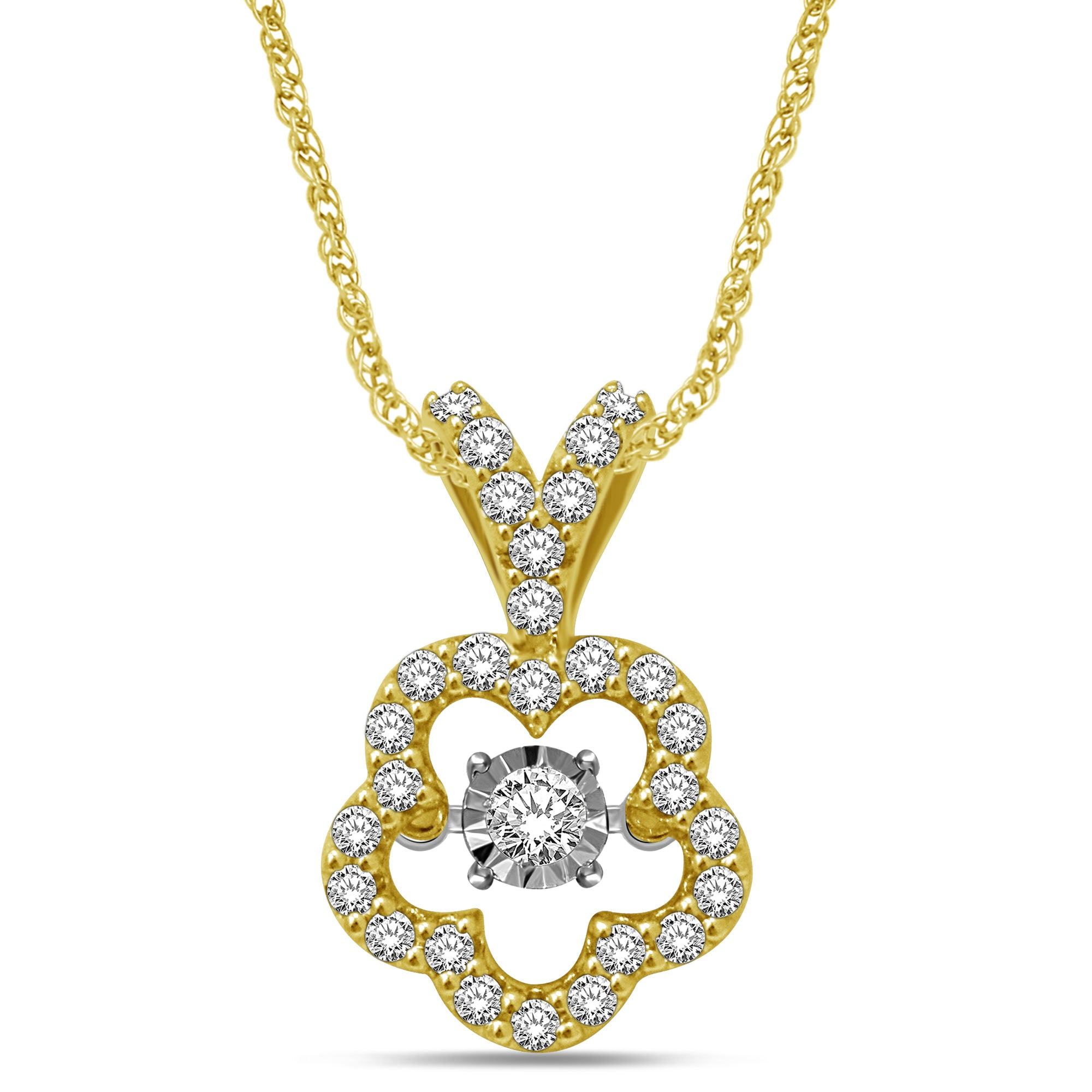 10K Yellow Gold 1/3 Ctw Flower Shape Moving Diamond Pendant