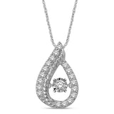 10K White Gold 1/4 Ctw Tear Shape Moving Diamond Pendant